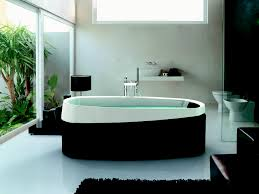 interior rectangle black jacuzzi bathtub on the corner connected