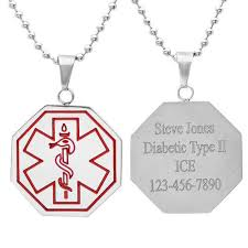 Necklace Engraving Medical Identification Necklace Pendant
