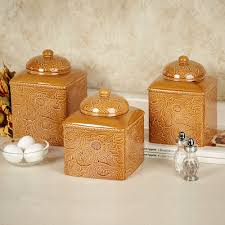 Stoneware Kitchen Canisters Savannah Gold Kitchen Canister Set