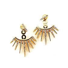 sided earrings affordable jewelry gold spike ear jacket