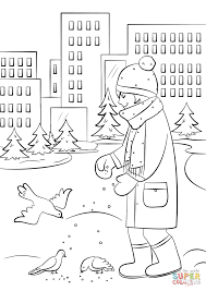 feeding birds in winter coloring page free printable coloring pages