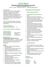 graduate business development executive cv sample student resume