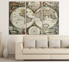 World Map Canvas Art by Vintage World Map Canvas Print For Interior Design Home And