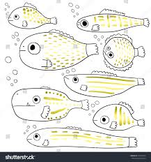 stylized fishes set abstract sea fish stock vector 512423974