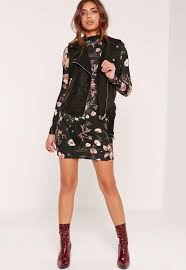 floral high neck long sleeve bodycon dress black missguided
