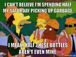 Lenny Meme - lenny carl pick up trash for community service on the simpsons meme