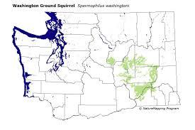 Map Washington Distribution Map Washington Ground Squirrel Spermophilus
