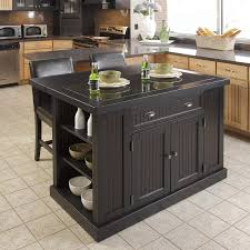 Kitchen Island Com by Shop Home Styles Black Midcentury Kitchen Island With 2 Stools At