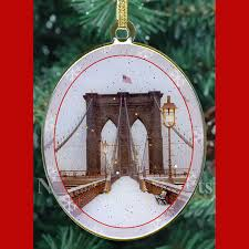 snow on bridge new york ornament ny