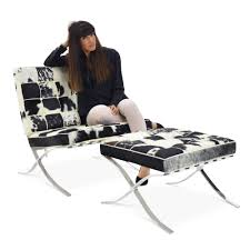barcelona chair set in brown white cowhide order now