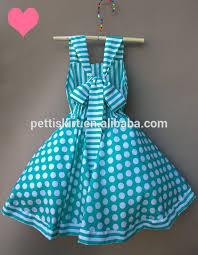 aqua green polka dot and stripe dress for smocked baby dress