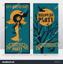 template halloween party invitations doodle lady stock vector