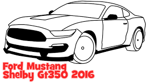 kid car drawing how to draw a car ford mustang shelby gt350 2016 step by step easy