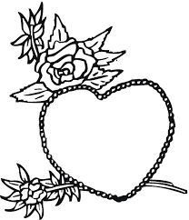 heart with roses coloring pages getcoloringpages com