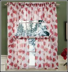 Red Kitchen Curtain by White Tab Top Kitchen Curtains Curtains Home Design Ideas