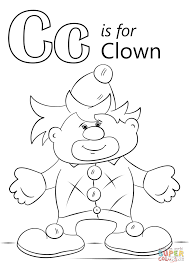letter c is for clown coloring page free printable coloring pages
