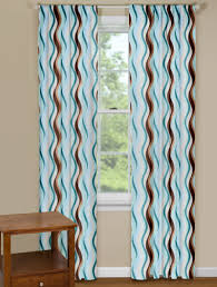 trendy wave curtain panel with shades of blue and brown