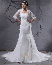 ivory strapless mermaid lace appliques wedding dress with lace