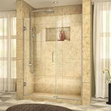 glass pivot shower door dreamline unidoor plus 57 1 2 58 in width frameless hinged