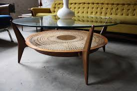 mid century round coffee table intricate danish mid century modern glass walnut caned s flickr