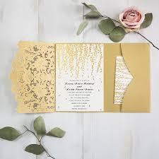 pocket invites formal gold falling leaves foil pressed pocket laser cut wedding