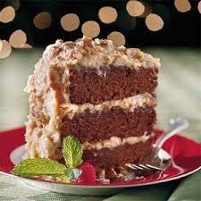 chocolate velvet cake with coconut pecan frosting coconut pecan