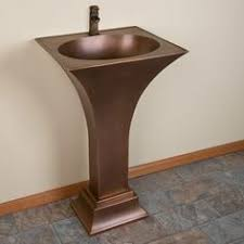Copper Pedestal Modern Hammered Copper Pedestal Sink Emily And Mike Pinterest