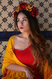 Bridesmaid Halloween Costume Red Gold Flower Crown Headpiece Mexican Wedding Bridal Bride