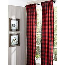 Red And White Buffalo Check Curtains Amazon Com Achim Home Furnishings Buffalo Check Window Curtain