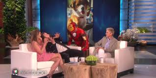 Ellen Bathroom Scares Watch Ellen Degeneres Totally Freak Out Chris Evans And Elizabeth