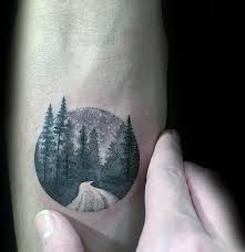 Simple Tattoo Ideas For Guys Small Simple Guys Circle Forest Night Inner Forearm Tattoo