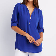 royal blue blouse top 2017 solid fashion zipper v neck fit casual