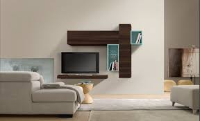 Modern Wall Unit Furniture Rectangle Dark Brown Wooden Tv Desk On White Painted