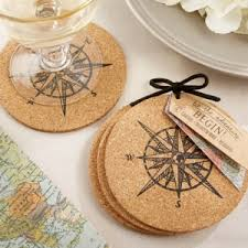 wedding coasters favors let the journey begin cork coaster favors