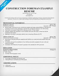Plumbing Supervisor Resume Sample Construction Resume Example Resume Example And Free Resume Maker