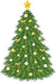 large transparent tree with gold and white ornaments