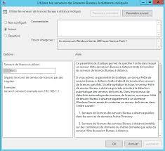 service bureau distance 2012 r2 spécifier le serveur de licences rds tse à utiliser