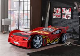 night racer kids car bed with racing themed linen and garage style