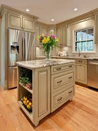 maple floor with antique sage green kitchen island for small