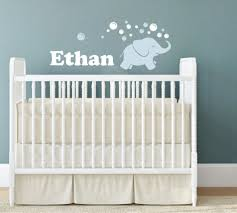 Nursery Wall Decals For Baby Boy Elephant Wall Decal Elephant Blowing Bubbles Name Wall
