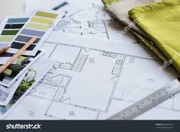 interior designers working table architectural plan stock photo