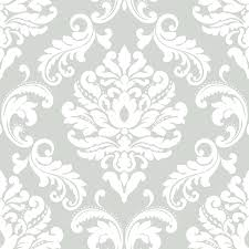Peel And Stick Wallpaper by Shop Nuwallpaper Peel And Stick Wallpaper Grey Vinyl Damask