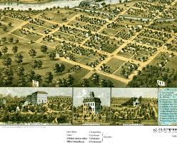 Chicago Map Wall Art by South Bend Indiana In 1866 Bird U0027s Eye View Map Aerial