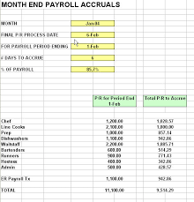 Accrual Accounting Excel Template Restaurant Payroll Accrual