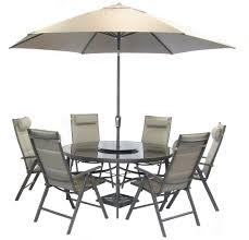 6 Seat Patio Table And Chairs Terrace Garden Aluminium Textilene 6 Seater Recliner