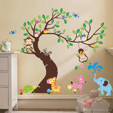 Tree Nursery Wall Decal Oversize Jungle Animals Tree Monkey Owl Removable Wall Decal