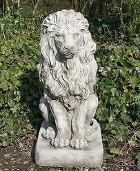 pair large heraldic lions antique finish statue garden