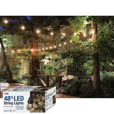 dimmable outdoor led string light feit outdoor weatherproof string light set black 48 ft 24 sockets