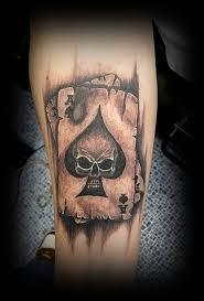 Forearm Skull - forearm grey 3d skull in ace card