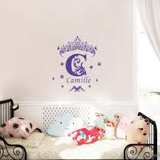 Personalized Wall Decor Custom Girls Name Vinyl Wall Sticker Crown Wall Art Decal